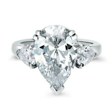 BERRICLE Sterling Silver 6.63 Carat Pear Cut CZ 3-Stone Engagement Ring
