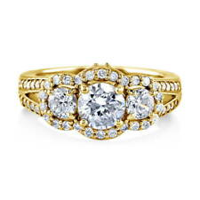 BERRICLE Gold Plated Sterling Silver CZ 3-Stone Halo Engagement Ring 1.74 Carat
