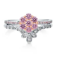 BERRICLE Sterling Silver Pink CZ Flower Fashion Right Hand Stackable Ring Set