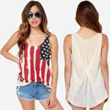 Women's American Flag Tank Top Shirt Patriotic 4th July Beige