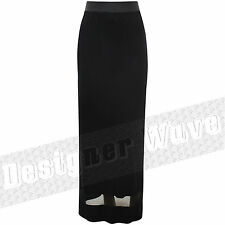 Ladies Black Skirt Elasticated Waist Mesh Hem Panel Net Maxi Skirt Plain Gypsy