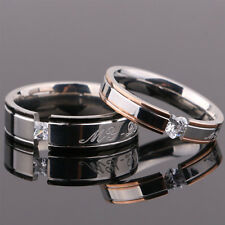 Hot Couple Love Titanium Steel Crystal Comfort Fit Wedding Bands Promise Ring