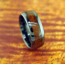 Black Ceramic Wedding Band with Koa Wood Inlay 8mm-Engagement Ring,Wood Inlay