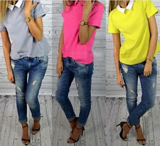 Doll Collar Short Sleeve Tops Korean Women Pure Color Slim Shirt Blouses Chiffon