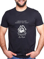 CHOCOLATE ADDICT BY DAY PIRATE BY NIGHT PERSONALISED T SHIRT FUNNY