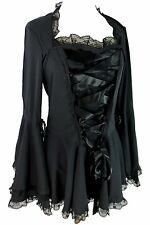 Victorian Gothic Steampunk Corset Bell Sleeve Ribbon Lace Top
