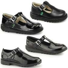 Kickers T Girls Kids  Patent/Leather Back To School Buckle Up Formal Shoes Black