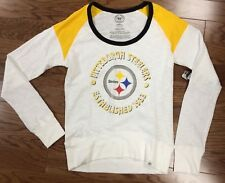 New Authentic 47 Brand Womens Pittsburgh Steelers White Wash Long Shot Tee Shirt