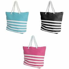 FLOSO Womens/Ladies Stripe Pattern Straw Woven Summer Handbag