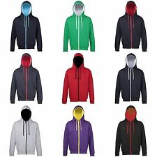 Awdis Mens Varsity Hooded Sweatshirt Hoodie Zoodie 11 Colours S-2XL