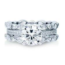 BERRICLE Sterling Silver Cushion CZ Solitaire Engagement Ring Set 3.99 Carat