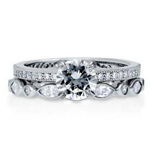 BERRICLE Sterling Silver Round Cut CZ Solitaire Stackable Ring Set