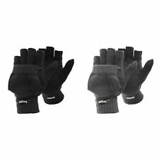 FLOSO Mens Thinsulate Capped Fingerless Thermal Winter Gloves /Mittens (3M 40g)