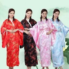 Black Pink Vintage Yukata Japanese Haori Kimono Robe Gown Costume Dress with Obi