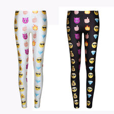 Womens Fashion Emoji Print Skinny Jogger Legging Casual Pencil Pants Trousers