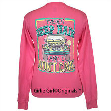 "Girlie Girl Originals ""Jeep Hair"" Long Sleeve Safety Pink Unisex Fit T-Shirt"