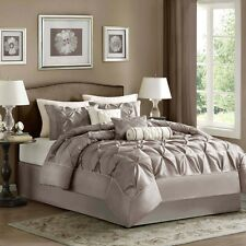 Queen Comforter Set 7 Piece Taupe Polyester Shams Decorative Pillows Bed Skirt