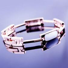 Rose Gold Plated Rhinestone Cube Cuff Bracelet Bangle Jewelry-White/Black
