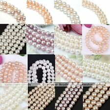 Strand Genuine Natural White Pink Round Fresh Water Pearl Loose Bead Finding DIY