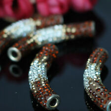 Gradient Rhinestone Crystal Shamballa Tube Spacer Beads 9*45mm
