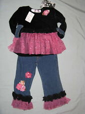 NWT Greggy Girl ZEBRALICIOUS 3 3T 4 4T Set Tulle Jeans Sequins Pink Black Outfit