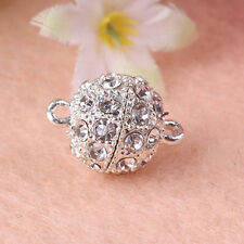 5/10Pcs Silvery Round Crystal Rhinestone Metal Magnetic Clasps For Necklace