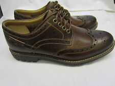 Clarks 'Montacute Wing' Mens Dark Tan Leather Brogues G Width Fitting