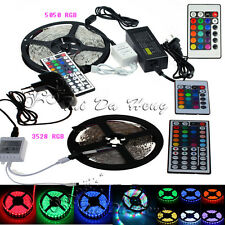 5M RGB 300LEDs 3528/5050 SMD LED Strip lights 24/44key Remote 5A/2A Power Supply