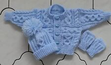 MAKE TO ORDER 0-3 3-6 6-12 months,1-2 years hand knitted Aran Cardigan Hat Mitts
