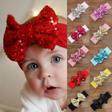 UK Baby Infant Girls Hair Band Sequined Bow Headband Turban Hair Accessories New