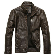 Cool Men's Collar Slim Faux Leather Motorcycle Jacket Washed Leather Warm Coat