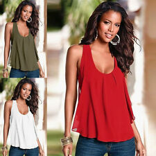 Sexy Hot Women Summer Loose Mini Splice Casual Tank T-Shirt Blouse Top Vest Tide