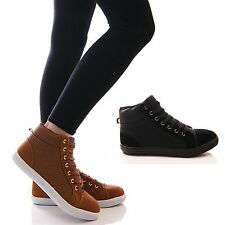 LADIES WOMENS HI TOP TRAINERS FLAT CASUAL LACE UP FASHION SNEAKERS SHOES SIZE