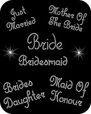 IRON ON RHINESTONE DIAMANTE WEDDING BRIDE BRIDESMAID TRANSFER MOTIF