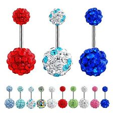 Navel Belly Button Ring Barbell Rhinestone Crystal Ball Piercing Body Jewelry LE