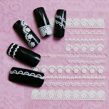 2pcs Mixed 3D White Lace 6 Styles Nail Art Stickers Manicure Decal DIY Decora le