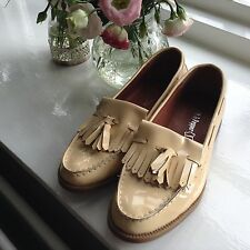Salt and pepper ladies NEW Patent Lemon Nude flat Loafer shoes size UK 5 - 38