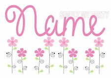IRON ON TRANSFER OR STICKER -  BIRD FLOWER SPRING PERSONALISED - ANY NAME