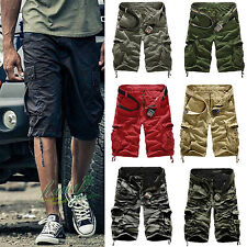 Casual Mens Army Cargo Combat Camo Camouflage Overall Short Sports 3/4 Pants Hot