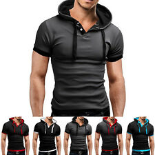 New Men's Slim Fit Short Sleeve Shirts Hooded Tee Tops Hoodies Casual T-shirt UK