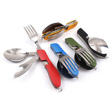 4in1 Stainless Outdoor Camping Travel Foldable Utensil Spoon Fork Knife Cutlery