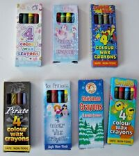Mini colouring Wax Crayons, Pack 4 colours, Themed, Lucky Dip / Party Bag Toy,