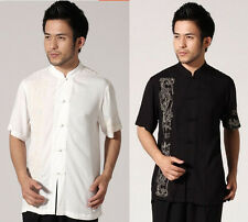 Chinese Men's Cotton Embroidery Dragon Kung FU Shirt Tops Sz: M L XL XXL 2 COLOR