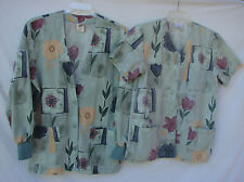 PEACHES SET Button AMST Short Sleeve SCRUB TOP Long Sleeve LAB JACKET M & L