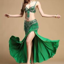 On Sale 2pics bra+belt handmade beaded belly dance costume set bra top hip scarf