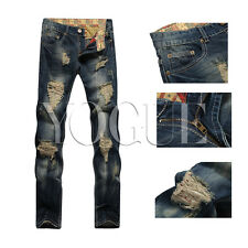 Mens Straight Skinny Distressed Jeans Blue Ripped Slim Fit Destroyed Pants 32-38