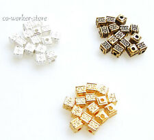 square silver gold bronze Plated alloy Beads Spacers 4mm  jewelry marking supp