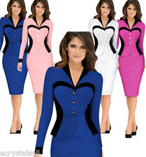 Womens Celeb Long Sleeve Bodycon Party Evening Cocktail Ladies Midi Pencil Dress