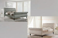 QUEEN KING BEIGE OR GRAY BUTTON TUFTED SCROLL HEADBOARD & FOOTBOARD PLATFORM BED