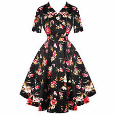 Whispering Ivy Black Floral Print floral 1950s Vintage Fit and Flare Party Dress